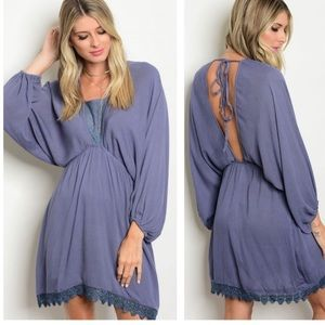 🆓BUY 2 GET 1 FREE Slate blue cut out dress